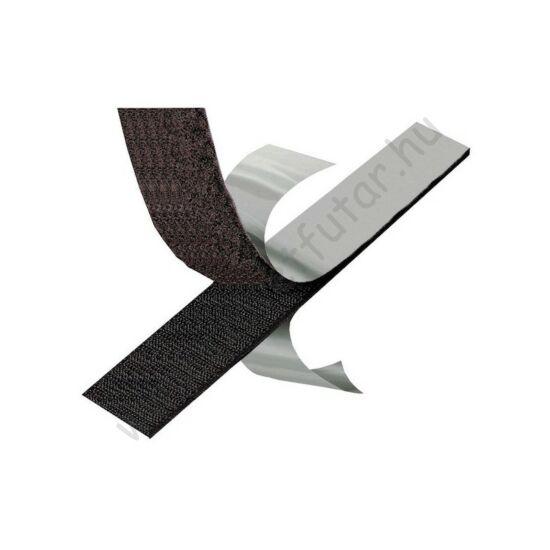 Fekete/fehér öntapadó tépőzár 20mm -  tekercsben (25m)